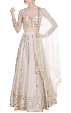 Astha Narang Raw silk sequin embroidered lehenga set