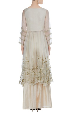 Sequin embroidered kurta with flared pants