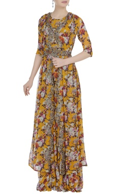 Floral printed jumpsuit with cape & sequin belt