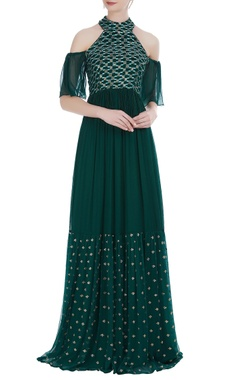 Rriso Chiffon halter cold-shoulder thread embroidered gown