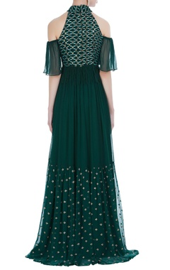 Chiffon halter cold-shoulder thread embroidered gown