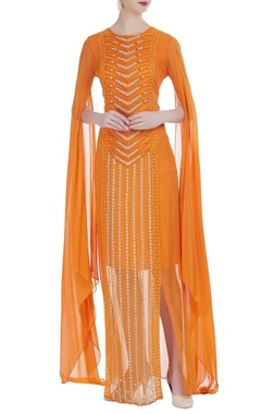 Rriso Draped style thread embroidered dress