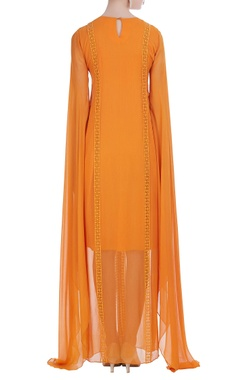 Draped style thread embroidered dress
