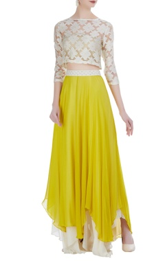 Rriso Tiered asymmetric skirt with organza embroidered crop top