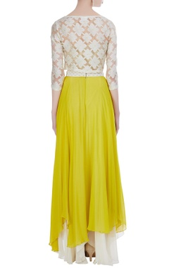 Tiered asymmetric skirt with organza embroidered crop top