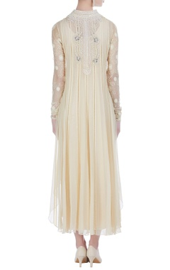 Pearl & sequin embroidered dress with tunic