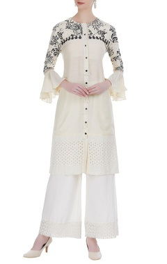 Rriso Thread embroidered button down kurta with palazzos