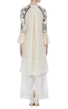 Thread embroidered button down kurta with palazzos
