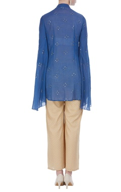 Draped tunic with embroidered pants