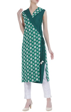 Rriso Wrap style kurta with cutwork embroidery