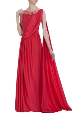 Crepe silk hand embroidered cutdana& sequin draped gown