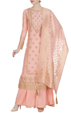 Matsya Gota embroidered kurta with sharara pant and dupatta