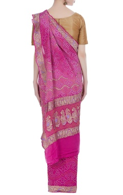Pure georgette brocade sari with unstitched blouse