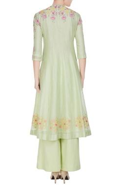 Light green chanderi silk resham embroidered flared kurta set