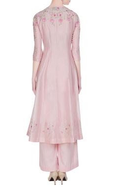 Rose pink chanderi silk thread embroidered kurta set