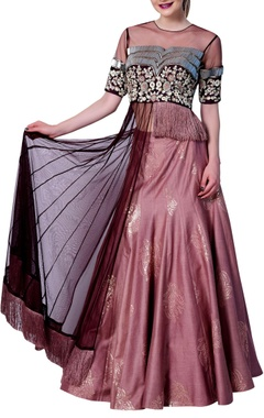 Vedangi Agarwal Half jacket style top with embroidered skirt.
