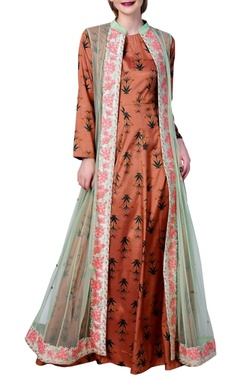 Vedangi Agarwal Printed shirt suit with long embroidered jacket
