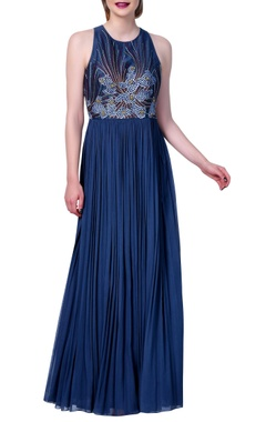 Vedangi Agarwal Embroidered long dress with flared pleated style