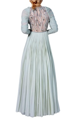 Embroidered flared dress with churidar sleeves
