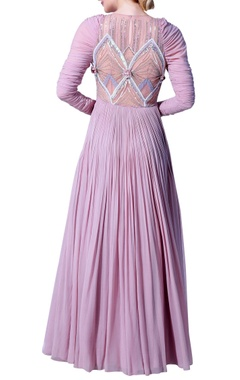 Embroidered flared long dress with churidar sleeves