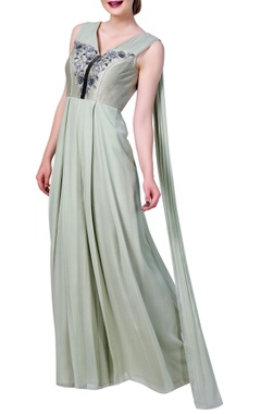 Front pleated embroidered jumpsuit with attached back drape