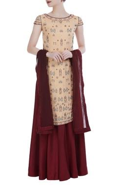 Hand embroidered sequin kurta & sharara set
