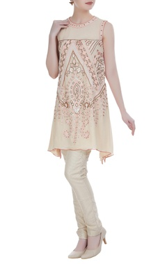 Resham & bead embroidered asymmetric kurta set