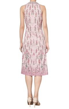 Digital printed floral tie-up dress