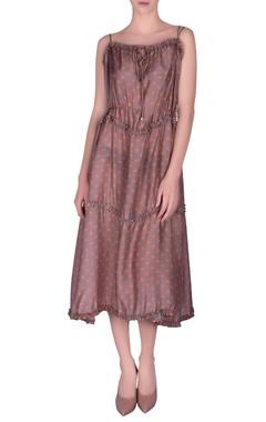 NAUTANKY Polka dotted printed spaghetti dress