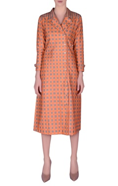 NAUTANKY Khadi check printed jacket dress