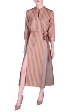 NAUTANKY Khadi front slit stripe pattern dress