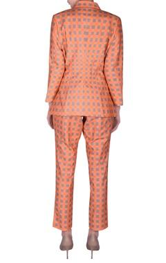 Check printed blazer & pant set
