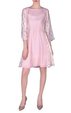 NAUTANKY Stripe printed cotton silk flared dress