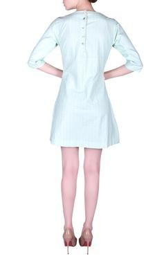 Bead embroidered pleated mini dress