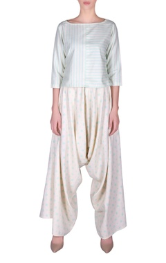 NAUTANKY Striped crop top & dhoti pants