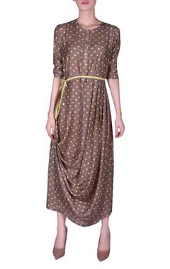 NAUTANKY Polka dot printed draped dress