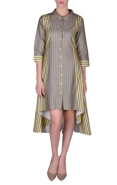 NAUTANKY Pinstriped high-low shirt dress