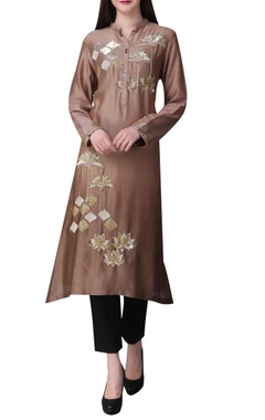 Tonal sequins embroidered tunic