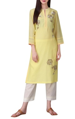 Sorbet colored rose sequin embroidered tunic