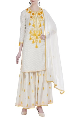 Aari embroidered straight fit kurta set