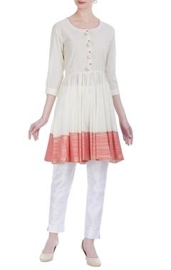 Cotton foil printed flared kurta