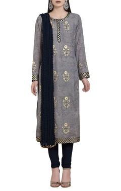 Thread embroidered & gota kurta set