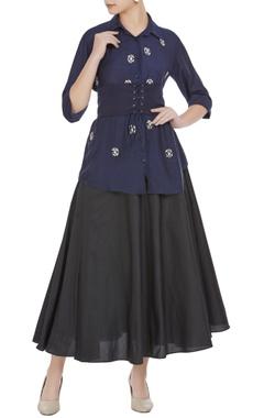 Embellished shirt with flared midi skirt