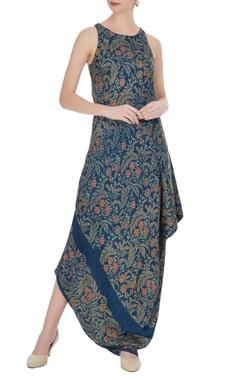 Floral motif print symmetrical long dress