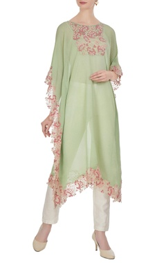 Embroidered kaftan with asymmetric hemline