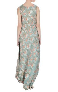 Floral motif printed long maxi dress