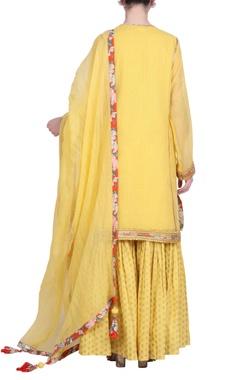 Kota doria jaal printed kurta with sharara pants & dupatta