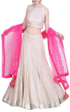 Nikasha Crepe foil printed lehenga with sleeveless blouse & net pink dupatta