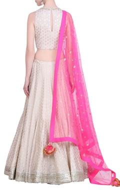 Crepe foil printed lehenga with sleeveless blouse & net pink dupatta