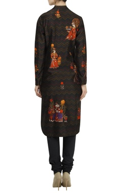Mughal-inspired digital printed kurta